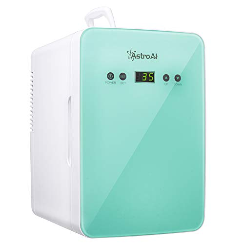 AstroAI Mini Fridge Skincare Fridge - with Temperature Control - AC/12V DC Portable Thermoelectric Cooler and Warmer for Bedroom, Cosmetics, Medications, Breastmilk (Teal)