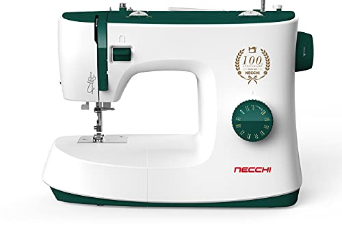 Necchi K121A Máquina de Coser, Interior de Aluminio Fundido a presión, Carcasa de ABS, Verde, Regular