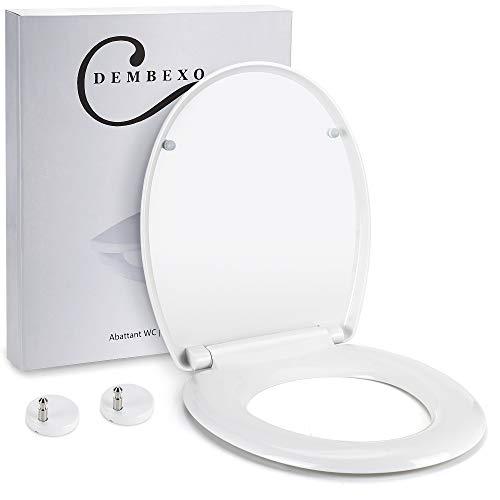 Dembexo® - Abattant WC avec Frein de chute - Lunette de toilette Clipsable - Fermeture en Douceur - Système Antidérapant - Démontage en un clic et Nettoyage facile + Lot de 10 Couvertures Hygiéniques