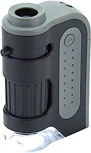 Taschenmikroskop mit einem leistungsstarken Vergrößerungsbereich von 60x-120x Qualitativ herausragende Optik durch präzise geformte asphärische Linsen Kompakt, leicht und einfach mitzunehmen Helles LED-Licht | Betrieb mit 1 AA-Batterie (nicht im Lief...