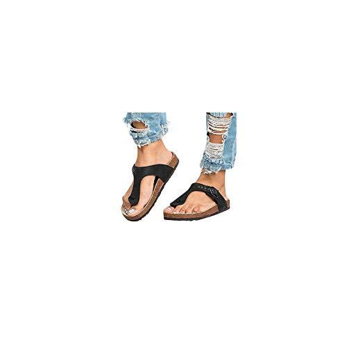 Damen Zehentrenner Flache Fußbett-Sandale Leopard Sommer Strand Sandalen, Celucke Frauen Flip Flops Bequeme Urlaub Sommerschuhe Zehenstegsandalen