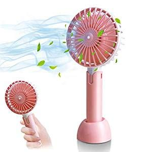 HOTLIFE Mini Ventilator Handventilator Tragbarer Mini USB Lüfter mit 18650 mAh Aufladbarem Batterie Beweglicher 3 einstellbare Geschwindigkeiten Personal Fan für Indoor und Outdoor Aktivitäten (Pink)