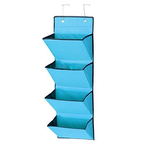XKMY Estantería de pared de 4 niveles para colgar en la pared, organizador de almacenamiento para colgar en la puerta, bolsa de tela Wardobe zapato (color: azul)