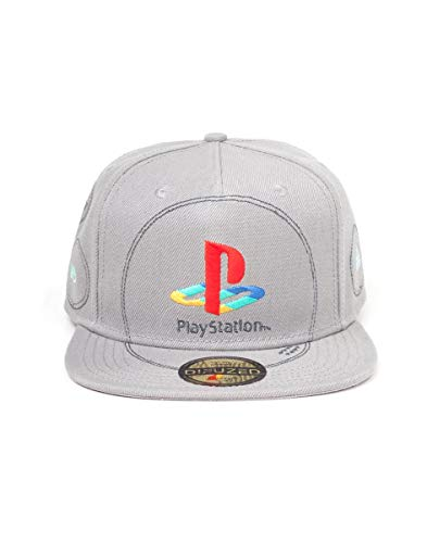 Playstation Unisex Embroidered Logo Snapback Baseball Cap, Grau (Grey Grey), One Size (Herstellergröße: Adjustable)