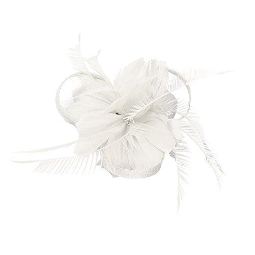 MagiDeal Vintage Feder Fascinator 1920er Great Gatsby Haarspangen Brosche Pin Weiß