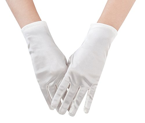 JISEN Women 20s Satin gloves Formal Bridal Banquet Party Wedding Opera Colorful Mitten 9 Inch White