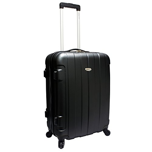 Traveler's Choice Rome Hardside Lightweight Upright Luggage, Black, Checked-Medium 24-Inch