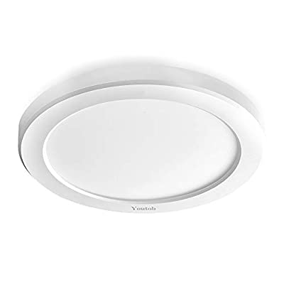 Youtob LED Ceiling Light Flush Mount with Adjustable 3 Colors, 15W 1500lm Round Lighting Fixture for Kitchens, Closets, Hallways, Stairwells, Bedrooms(3000k/4000k/5000k Available) (White)