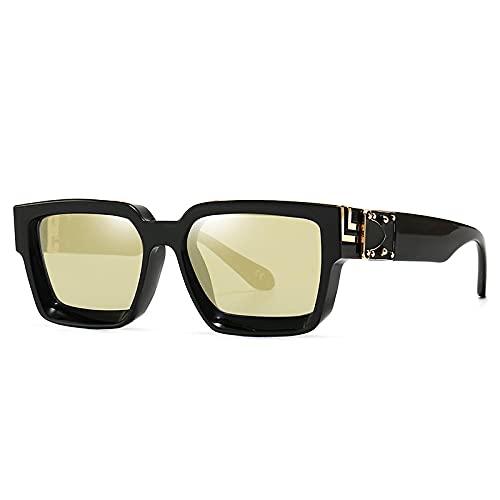 Gafas De Sol Hombre Mujeres Ciclismo Gafas De Sol Cuadradas De Moda Populares para Hombre Gafas De Sol Vintage para Mujer-Black_Clear_Golden
