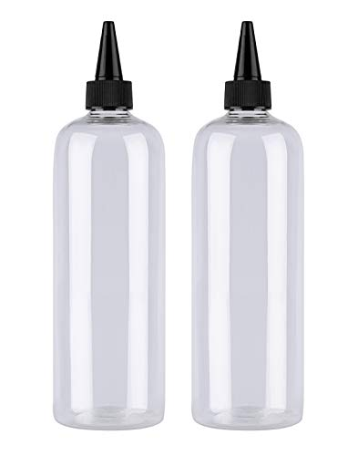 Hair Color Bottle Applicator, Sdootbeauty Applicator Bottle 16 ounce, Squeeze Bottle for Hair, PET Plastic Refillable Bottles with Twist Top Cap-2 Pack,Transparent