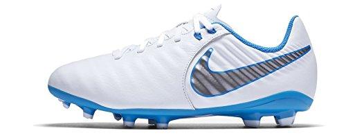 Nike Unisex Legend 7 Academy FG Fußballschuhe, Weiß (White/Chrome-Blue Hero-Chrome 107), 37 EU