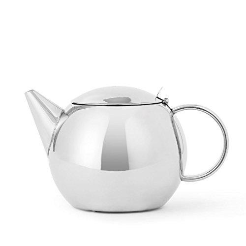 Teekanne Edelstahl doppelwandig: 1 Liter, glänzend, Nicht tropfenden Ausguss, hält den Tee Lange heiß
