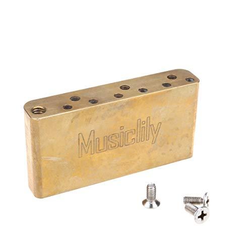 Musiclily Ultra 10,5mm Latón 36 mm Corto Guitarra Trémolo Block Bloque para Squier Bullet Strat y Algunas Guitarra Eléctrica de Importación