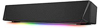 Gaming Computer Speaker Dual Powerful 7W Drivers PC Soundbar Colorful RGB Light Wireless Bluetooth 5.0 or 3.5mm AUX-in Connection Stereo Audio Computer Sound Bar for Desktop