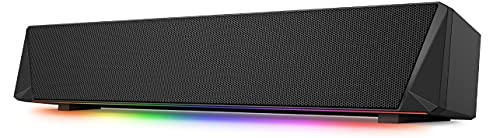 Gaming Computer Speaker, Dual Powerful 7W Drivers PC Soundbar, Colorful RGB Light, Wireless Bluetooth 5.0 or 3.5mm AUX-in Connection, Stereo Audio Computer Sound Bar for Desktop