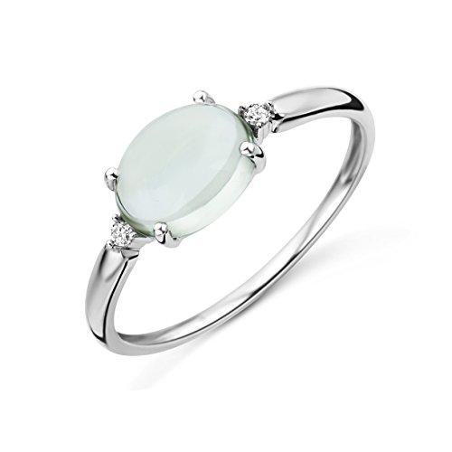 Miore mujer 9 k (375) oro blanco talla ovalada verde amatista diamante
