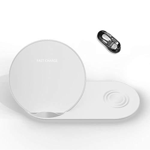 Meipai Soporte de Cargador inalámbrico 2 en 1 QI Compatible con I-Phone X XR XS MAX 8 para Sam-Sung S9 S8 S7 Note 9 8 Ga-laxy Watch Gear S3 S2 Hua-wei Mate RS Mate 20