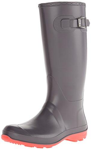 Kamik Women's Olivia Rain Boot, Charcoal W PINK BOTTOM, 9 M US
