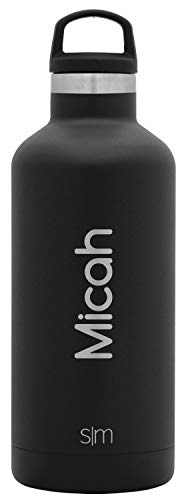 Simple Modern Personalized 32 Ounce (Custom) Ascent Water Bottle - Gifts for Men Women Kids Custom Laser Engraved Name - Stainless Steel Black Tumbler Double Wall Vacuum Insulated -Midnight Black