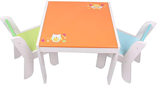 labebe mall Tavolo e sedia per bambini in legno con simpatici gufi modello, dipinto, bevendo, fai da te, regalo di compleanno per bambini di 1-5 anni/tavolo da gioco multifunzione