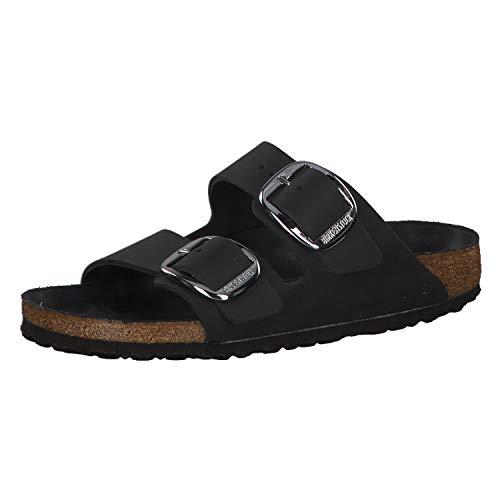 Birkenstock Schuhe Arizona Big Buckle Geöltes Nubukleder Schmal Black (1011075) 40 Schwarz