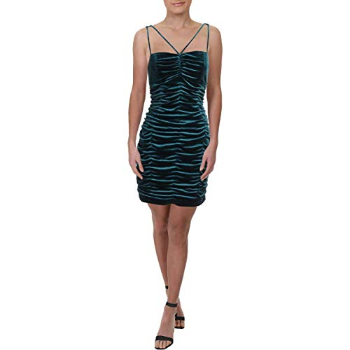 Price comparison product image Aidan Mattox Womens Velvet Ruched Party Dress Green 12