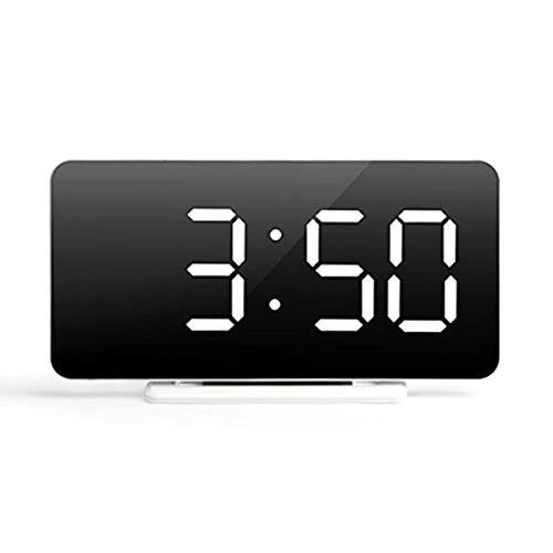 Bettying Despertador digital LED con alarma de espejo, reloj de mesa recargable por USB, reloj LED de carga USB, despertador digital de bajo consumo