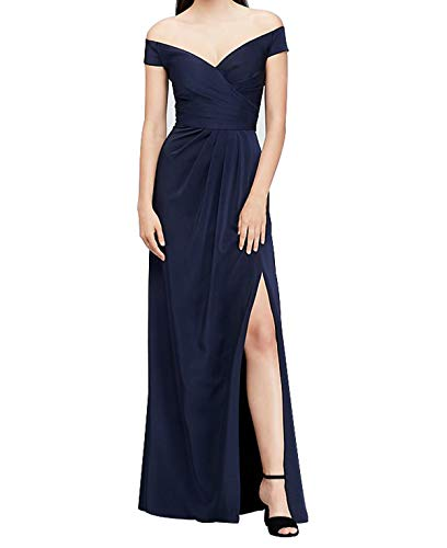 Viloree Damen Ärmellos V-Ausschnitt Brautjungfer Cocktail Langes Kleid Ballkleid A-Linie Navy M