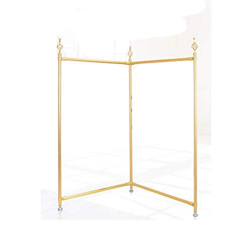 XZGang Retro Escudo Bastidores, Barra horizontal for suelo de ropa soporte de exhibición del metal del doblez Boutiques Expositores 145 * 80cm tienda de ropa ( Color : Gold , Size : 145*80CM )