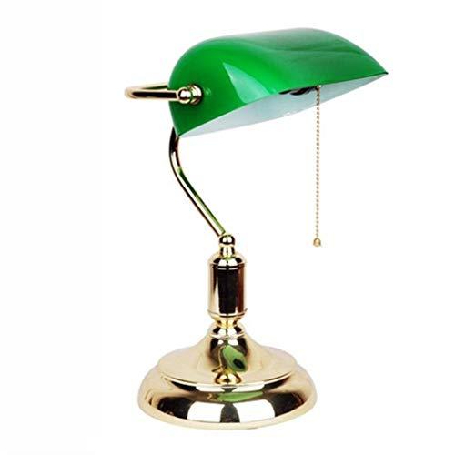 L.W.S Lámpara de Escritorio Lámpara Classic Bankers Escritorio Lámpara de latón Pulido con Cabeza giratoria de Vidrio Verde, 001