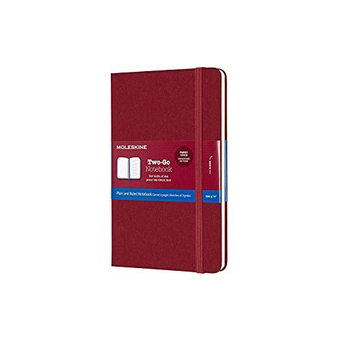 Moleskine Classic Notebook Taccuino Pagina Bianca e a Righe, Copertina Rigida in Cotone Canvas e Chiusura ad Elastico, Formato Medium 11,5 x 18 cm, Colore Rosso Mirtillo, 144 Pagine