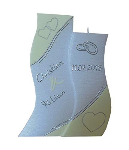 Hochzeitskerze modern Doppelwelle mit Herzen und Eheringen mit Perlmuttstruktur 190,5/110,5mm