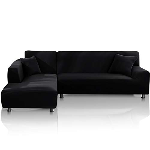 TOPOWN Funda para sofá Chaise Longue Impermeable, Funda para Sofa en Forma L, Funda Chaise Longue Derecho/Izquierdo de 3 Asientos + 3 Asientos, con 2 Fundas de cojín, Negro