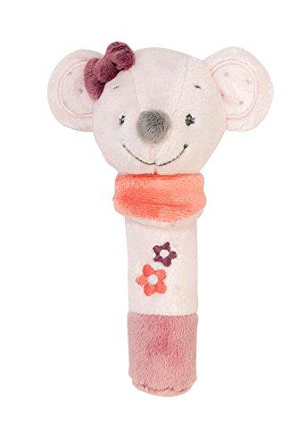 Nattou Hochet Stick Souris Valentine, Avec Couinement, Adèle et Valentine, 17 x 10 x 9 cm, Gris/Rose