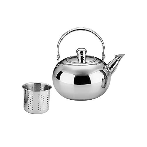 Heigmz Pequeña tetera, Infusor de aleación tetera agua cafetera, Tetera de acero inoxidable con filtro 1. 5L para tienda de cocina