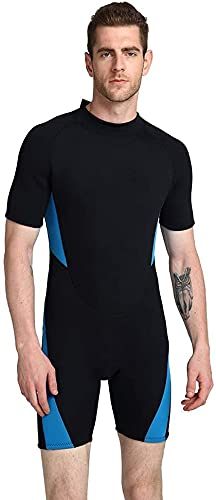 CXQA Traje de Neopreno para Hombres con Traje de Neopreno, Neopreno Wetsuits Wetsuits - Ideal para Kayak, Buceo, Red,Azul,6XL