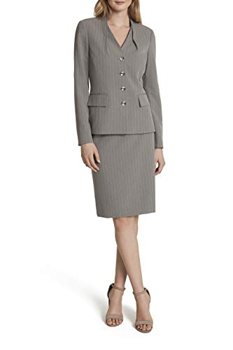 Tahari ASL Women's Collarless 4 Button Striped Jacket and Skirt Set, Heather Grey Pink