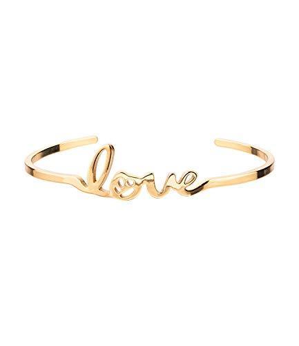 SIX Offener goldglänzender Metall-Armreif mit integriertem Schriftzug Love (524-625)