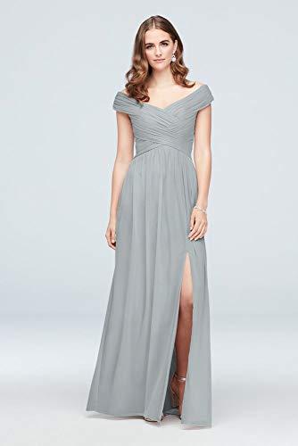 David's Bridal Crisscross Off-The-Shoulder Mesh Bridesmaid Dress Style F19951, Mystic, 2