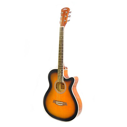 "Acoustic-Electric Grand Auditorium Guitar - 40"" 6 String Linden Wood Slim Body Cutaway Sunburst Style w/ Built-in Pre Amplifier, Case Bag, Nylon Strap, Tuner, Picks, Great for Beginner - Pyle PGA36"