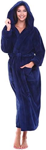 Alexander Del Rossa Women s Plush Fleece Robe with Hood Warm Bathrobe 1X 2X Navy Blue A0116NBL2X product image
