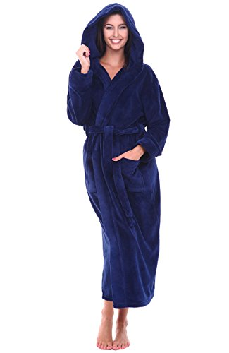 Alexander Del Rossa Women's Plush Fleece Robe with Hood, Warm Bathrobe Small Medium Navy Blue (A0116NBLMD)