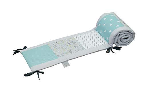 Baby Bettumrandung 70x140 cm | Made in EU | ÖkoTex 100 | Schadstoffgeprüft | Antiallergisch | Baby Nestchen Rundum | Babynest | Umrandung Babybett | Safari Pfefferminz | ULLENBOOM ®