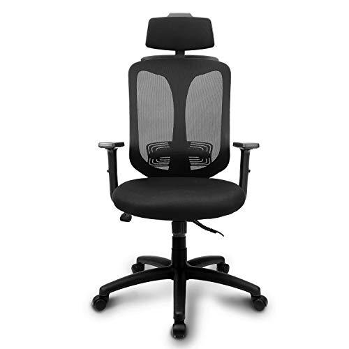 INTEY Bürostuhl, ergonomischer Schreibtischstuhl, atmungsaktiver Bürosessel, Wippfunktion bis 26°, verstellbare Kopfstütze und Lendenstütze, Bürodrehstuhl Office Chair Belastbar bis 130 kg
