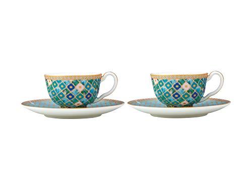 Maxwell & Williams HV0131 Teas & C's Kasbah Espressotassen und Untertassen in Geschenkbox, Porzellan, Mintgrün, 2er Set (4 Stück)