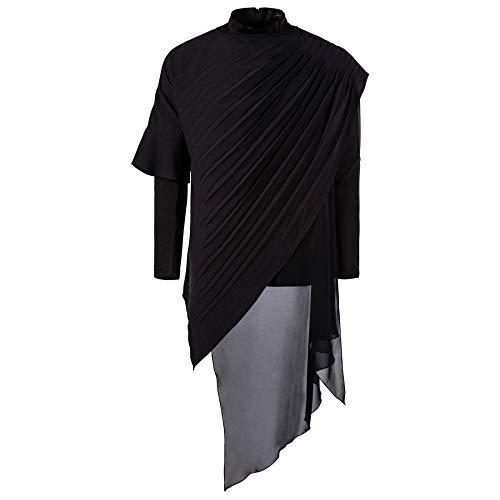 SPECIALOFFERKYZ - Camiseta de manga larga para hombre, diseño irregular de dos piezas, color negro Negro Negro ( S