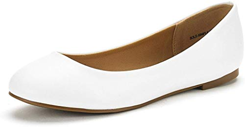 DREAM PAIRS Women's Sole-Simple White Pu Ballerina Walking Flats Shoes - 8 M US