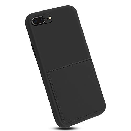 Rdyi6ba8 Funda Compatible con iPhone 8 Plus, TPU Silicona Carcasa con Superfino Pelusa Forro, Anti-rasguños Protección Teléfono Case para iPhone 7 Plus, Negro