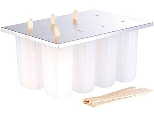 Rosenstein & Söhne Eis am Stiel Förmchen: Eis-am-Stiel-Bereiter mit 8 Eisformen und Holzstielen (Eis am Stiel Behälter)