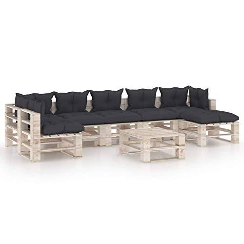 Tidyard Conjuntos Sofa Exterior Patio Juego de Muebles de jardín de palets 8 pzas Cojines Madera Pino 3#